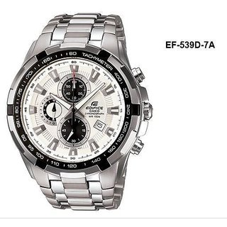 CASIO EDIFICE EF 539D-7AVD WHITE DIAL CHRONOGRAPH LATEST MENS WRIST WATCH GIFT