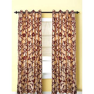 Door Curtain (4x7 feet) l marron flower