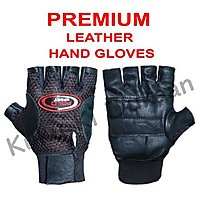 Body Maxx Multipurpose Leather Gym Gloves with Padded Palm Support & Net Upside