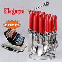 Elegante Red Stainless Steel Cutlery Set 25 Pcs With Free Credit Card Holder