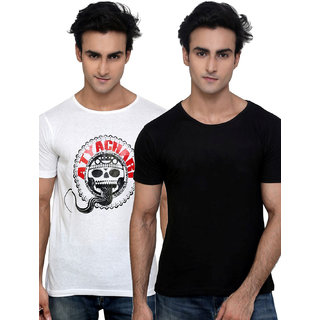 Incynk Pack Of 1 Printed & 1 Plain Cool Round Neck T Shirts In Black/White