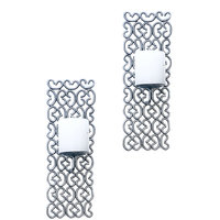 Wall Sconce Candle Holder In Silver Finish-Set Of 2