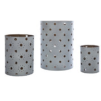 Sutra Decor White Hurricane Pillar Candle Holder/Tea Light Candle Holder- Set Of 3