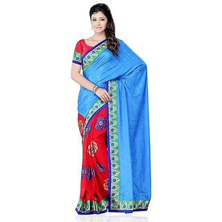 First Loot Blue And Red Color Jacquard And Georgette Saree - Divdfs441A