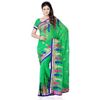 First Loot Green Color Georgette Saree - Divdfs441B
