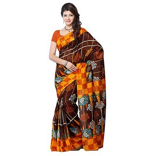 First Loot Orange And Dark Brown Color Art Silk Saree - Divdfs451A
