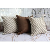 White And Brown Cushion Cover ( Set Of 3)