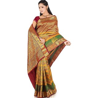 Pure Silk Kanjeevaram Hand woven Saree-20-JG8-Silk