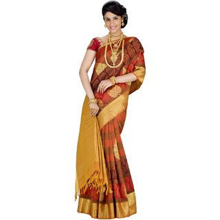Pure Silk Kanjeevaram Hand woven Saree-Red-SABS4-Silk