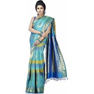 Pure Silk Kanjeevaram Hand woven Saree-Blue-MKJ18-Silk