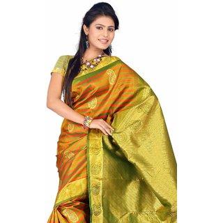 Pure Silk Kanjeevaram Hand woven Saree-Black-DHLS45-Silk