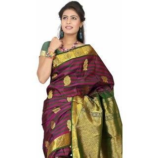Pure Silk Kanjeevaram Hand woven Saree-Black-DHLS46-Silk