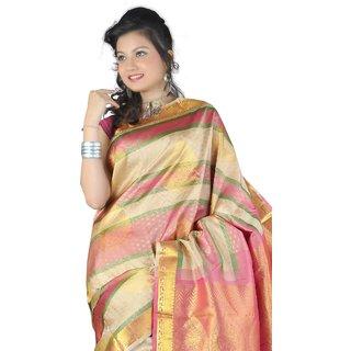 Pure Silk Kanjeevaram Hand woven Saree-Multicolor-JG26-Silk