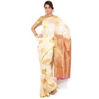 Floral Silk Saree Collections-White-MUS60-VS-Georgette