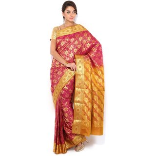 Floral Silk Saree Collections-Pink-MUS61-VS-Georgette