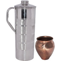 Prisha India Stainless Steel Jug With Kalash 'Lota' Copper Utensils Ayurveda Healing