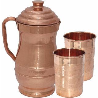 Prisha India Pure Copper Jug Picture with Two Tumblers Drinkware Set