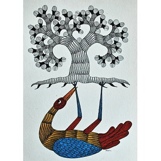 Mandi - Gond Tribal Wall Art On Paper - Bird Supporting Tree Of Life - IGPa-016