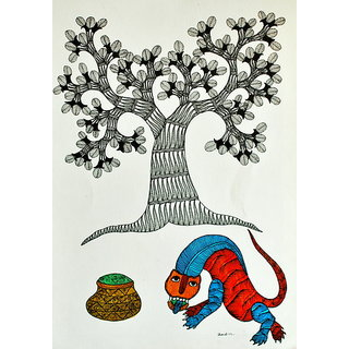 Mandi - Gond Tribal Wall Art -Tree Of Life With Animals And A Pot - IGPa-022