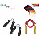 FITNESS BASIC NEEDS SKIPPING ROPE+2 HAND GRIP EXERCISER + PAIR OF SWEAT BANDS