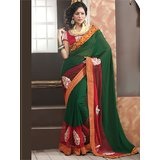 Green Georgette Saree with Blouse