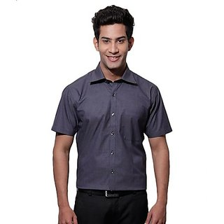 SPEAK Vibrant Navy Blue Self Checks Half Sleeves Shirt