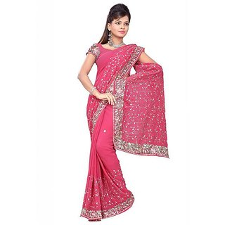 Firstloot Pink Color Faux Georgette Embroidered Party Wear Saree