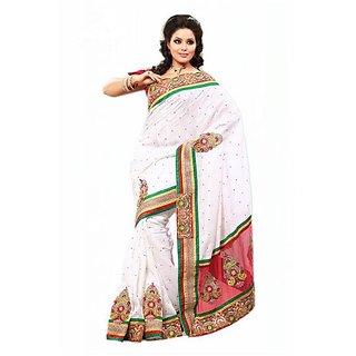 Firstloot White Color Bhagalpuri Silk Jacquard Embroidered Party Wear Saree