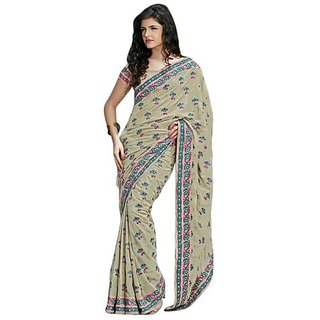 Firstloot Sea Green Color Faux Georgette Embroidered Party Wear Saree