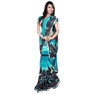 Firstloot Entrancing Floral Printed Faux Georgette Saree