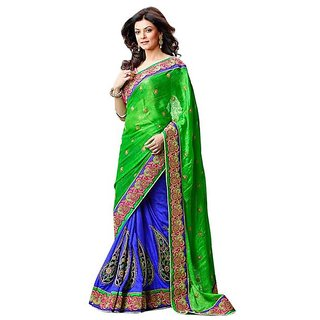 Firstloot Blue Color Faux Georgette Embroidered Party Wear Saree