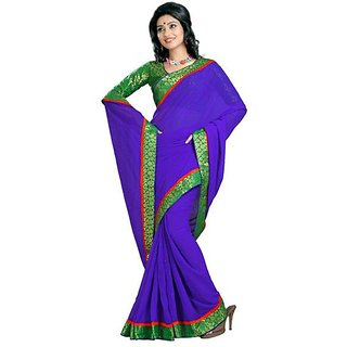 Firstloot Blue Color Chiffon Border Work Festive Wear Saree