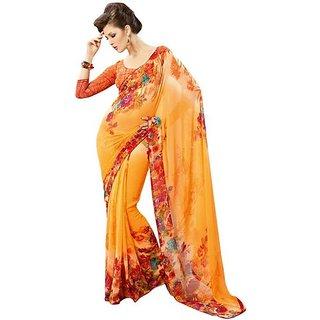 Firstloot Trendy Orange Color Faux Georgette Printed Casual Wear Saree