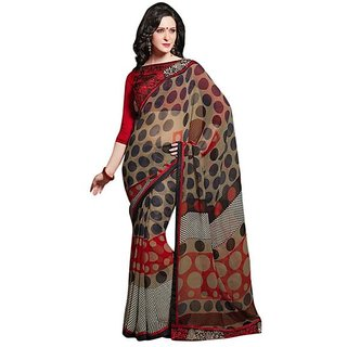 Firstloot Stylish Brown Color Faux Georgette Printed Casual Wear Saree