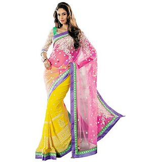 Firstloot Yellow Color Net Faux Georgette Embroidered Party Wear Saree