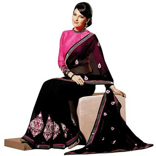Firstloot Black Color Faux Georgette Border Work Festive Wear Saree