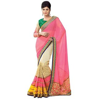 Firstloot Cream Color Embroidered Faux Georgette Saree