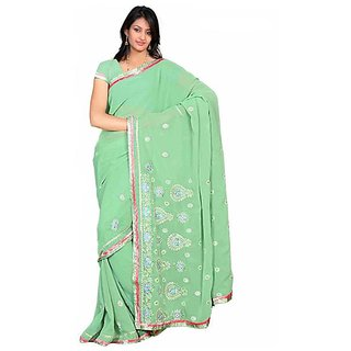Firstloot Green Color Faux Georgette Embroidered Party Wear Saree