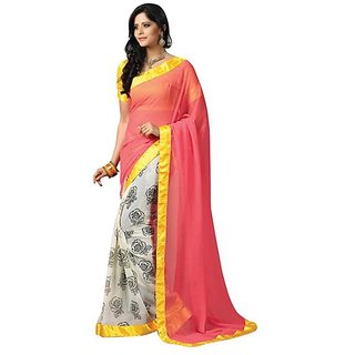 Firstloot Elegant Satin Bordered Chiffon Saree