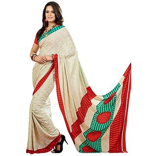Firstloot Classy Contrast Bordered Printed Crape Saree