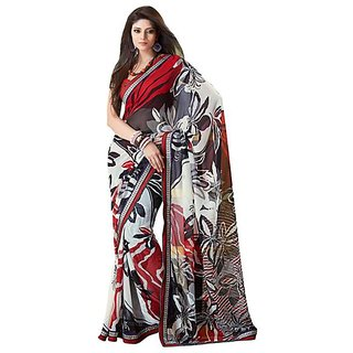 Firstloot Graceful Floral Printed Faux Georgette Saree