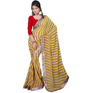 Firstloot Brown Color Chiffon Printed Casual Wear Saree