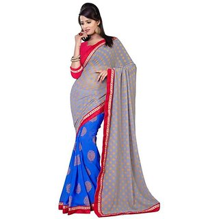 Firstloot Stylish Blue Color Chiffon Printed Casual Wear Saree