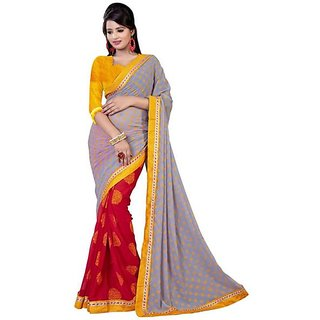 Firstloot Red Color Chiffon Printed Casual Wear Saree