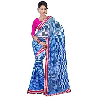 Firstloot Blue Color Chiffon Printed Casual Wear Saree