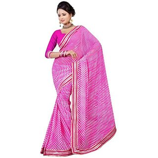 Firstloot Classic Pink Color Chiffon Printed Casual Wear Saree