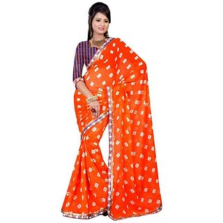 Firstloot Classic Orange Color Faux Georgette Printed Casual Wear Saree