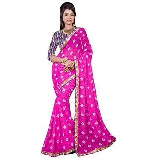 Firstloot Stylish Pink Color Faux Georgette Printed Casual Wear Saree