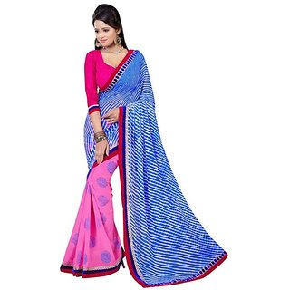 Firstloot Pink Color Faux Georgette Printed Casual Wear Saree