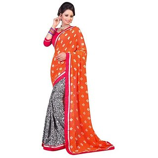 Firstloot Orange Color Faux GeorgetteCrape Printed Casual Wear Saree